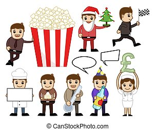 Holiday and Party Cartoon Concepts Vector Illustration