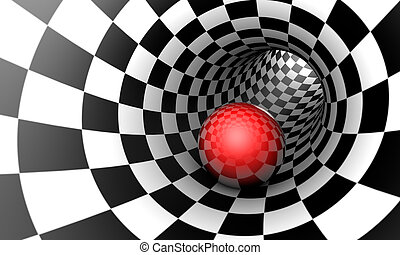 Red ball in a chess tunnel. Predetermination. The space and...