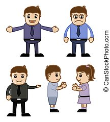 Cartoon Business People and Kids Vector Illustration