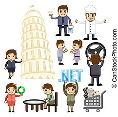 Cartoon People and Kids Vector Concepts Illustration