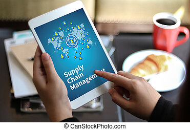 SCM Supply Chain Management concept Modern people doing...