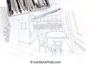graphical sketch of kitchen interior and furniture blueprint with drawing tools