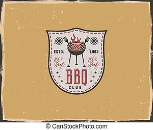 BBQ club typography poster template in retro old style. Offset and letterpress design. Letter press label, emblem. Isolated on yellow scratched background
