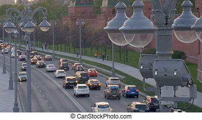 Street lamp close-up. Time lapse. Moscow. View of the road...