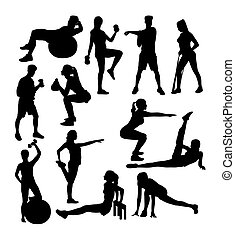 Gym and Fitness Exercises Sport Activity Silhouettes