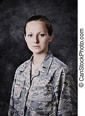 militar, mujer