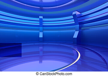 Abstract blue glossy interior with light. 3d rendering