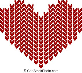 seamless Knitted pattern with red heart