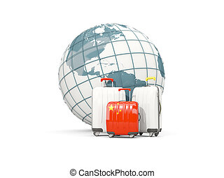 Luggage with flag of china. Three bags in front of globe