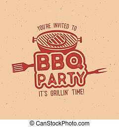 BBQ party typography poster template in retro old style. Offset and letterpress design. Letter press label, emblem. Isolated on scratched background