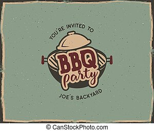 BBQ party typography poster template in retro old style. Offset and letterpress design. Letter press label, emblem. Isolated on scratched background.