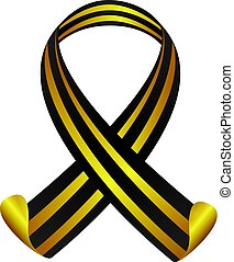 St George Ribbon in black and yellow color. isolated vector...