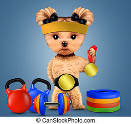 Funny dog with sport equipment and gold medal. Concept of...