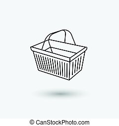 Basket icon - Supermarket basket icon vector