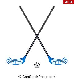 Symbol of ball and sticks for floorball - Symbol of ball...
