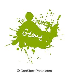 Green splash with word start