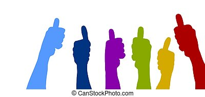 Colorful thumbs up