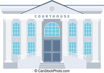 Courthouse flat building icon in blue colors isotaled on...