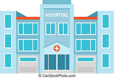 Hospital flat building icon on white backdrop. Vector...