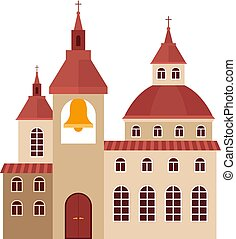 Chirch building flat colorful icon on white background....