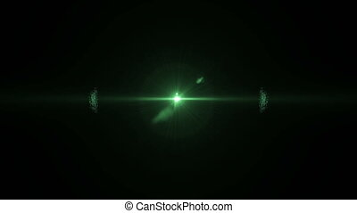Particles green sphere with optical flares, stock video