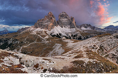 Majestic landscape mountain with Tre Cime peak before...