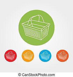 Basket icon - Supermarket basket icon vector