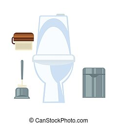 Ceramic toilet and other common washroom attributes set -...