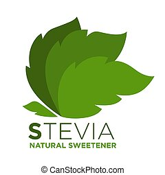 Stevia natural sweetener green leaf with inscription near,...