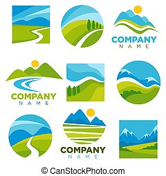 Landscape logotypes set with space for company name -...