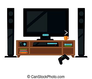 TV set with gamepad - Vector illustration of TV set with...