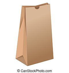 Brown empty paper package for grocery products illustration