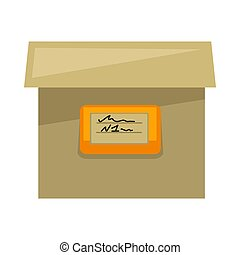 Cardboard box with sign on side isolated illustration -...