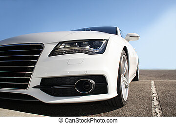 Tuning Car - white sports car on a colorful background