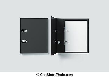 Blank black ring binder folder design mock up top view, 3d...