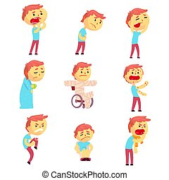 Sick men set of people with pain and diseases. Colorful cartoon characters vector Illustrations