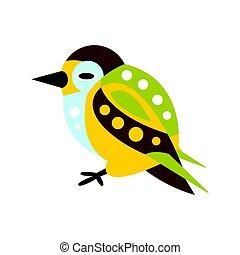 Cute colorful bird cartoon character vector Illustration