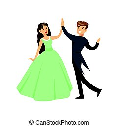 A woman in a ball dress and a man in a frock coat dancing ballroom dance colorful character vector Illustration