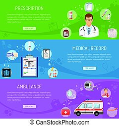 Medical horizontal banners prescription, medical card,...