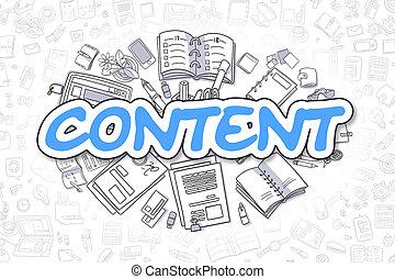 Content - Doodle Blue Word. Business Concept. - Content -...