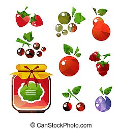 fruits jam-01 - Jam jar with fruits and berries isolated on...