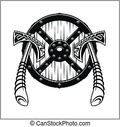 Viking Warrior Emblem - vector illustration isolated on...