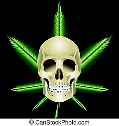 Skull Ganja vector - Skull with Ganja on black background