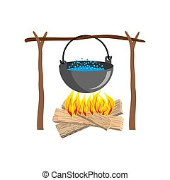 boiler with camping. Campfire place. boiler and firewood