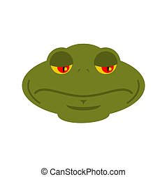 Frog sad emoji. toad Avatar sorrowful amphibious. Emotion Reptile Face