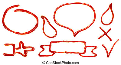 Design elements made of ketchup, isolated on a white...