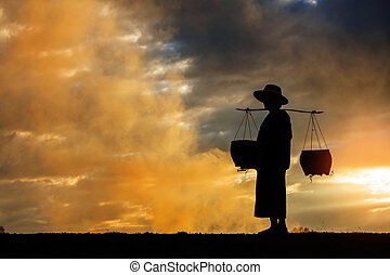farmer walking at sunset.