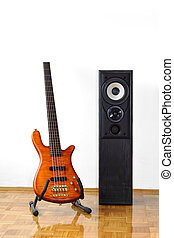 Bass guitar and loudspeaker - Five-string electric bass...