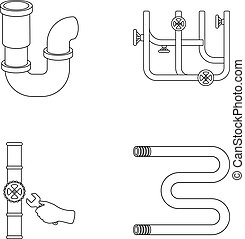 A siphon, a towel warmer and other equipment.Plumbing set...
