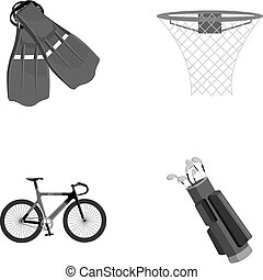Flippers for swimming, basketball basket, net, racing...